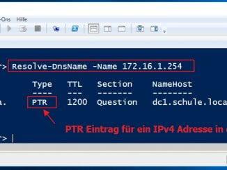Mit der Windows Powershell die Namensauflösung prüfen - Reverse-Lookup-Zone - Resolve-DnsName