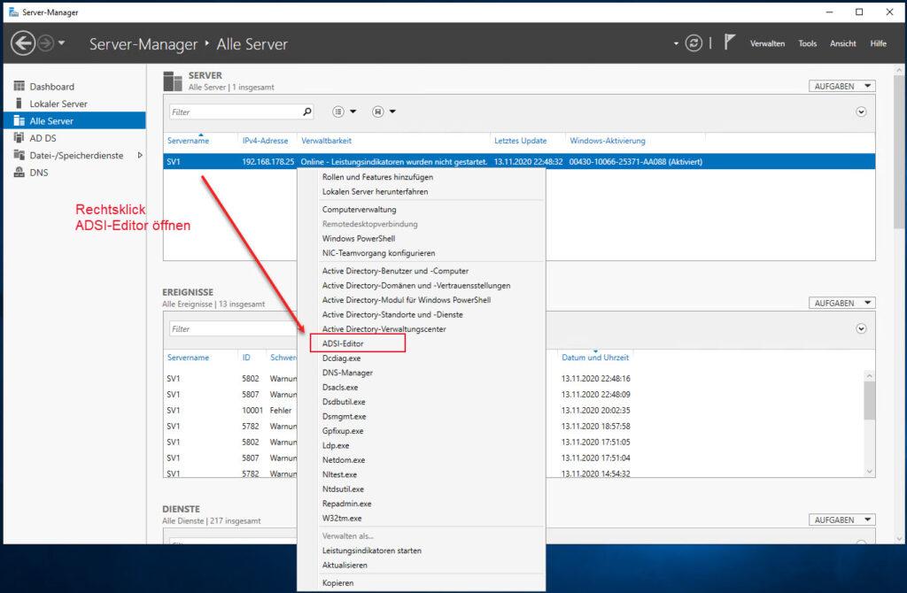 Über Den Windows Server Manager De ADSI Editor öffnen