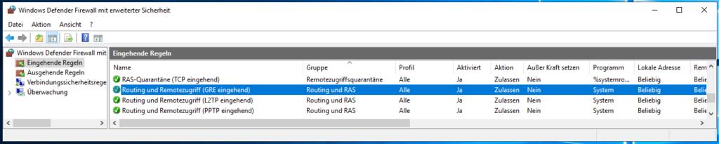 Im Windows VPN Server Die Firewall Regeln Für Den Zugriff Prüfen