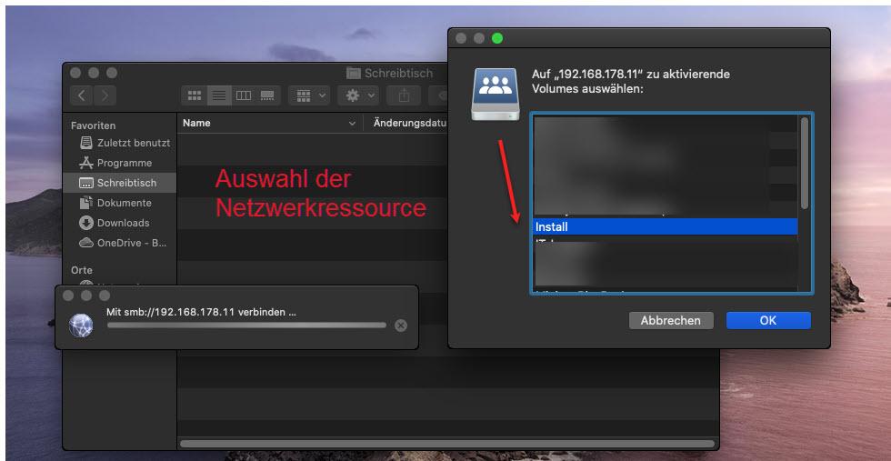 Im MacOS Betriebssystem Auf Netzwerkressourcen Zugeifen Freigabe Auswählen