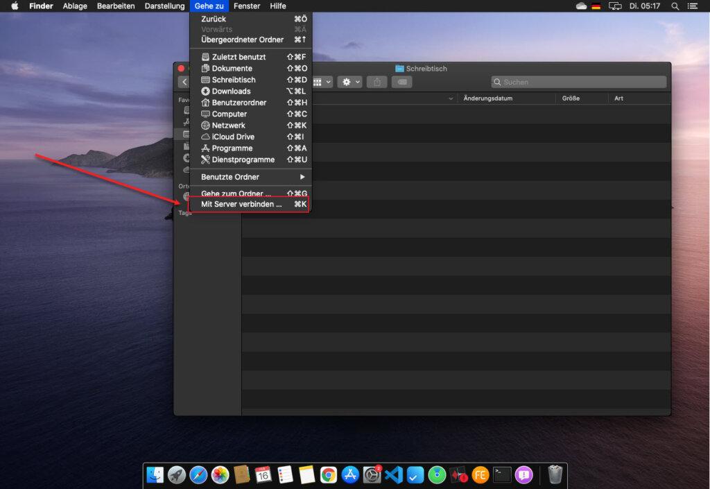 Im MacOS Betriebssystem Auf Netzwerkressourcen Zugeifen Im Finder Mit Server Verbinden