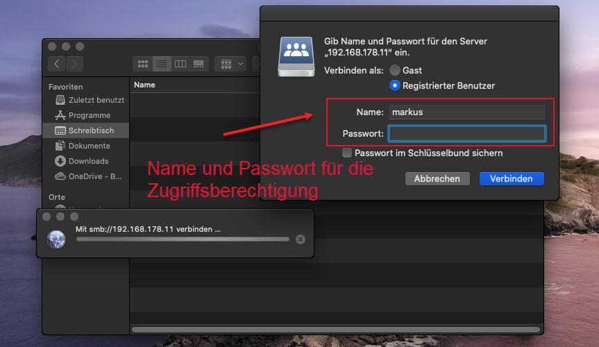 Im MacOS Betriebssystem Auf Netzwerkressourcen Zugeifen Passwort Und Benutzer Angeben