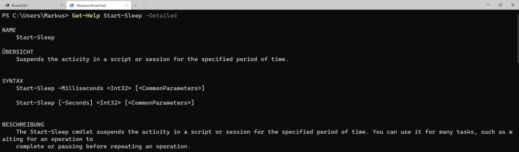 Windows PowerShell Skripte Kurz Pausieren