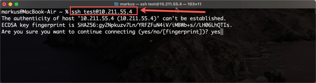 Über Ein MacOS Betriebssystem Ein SSH Verinbund Erstellen