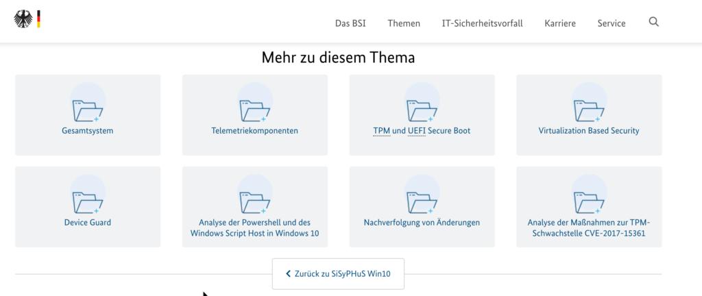 BSI Handlungsempfehlungen Windows 10 Härten