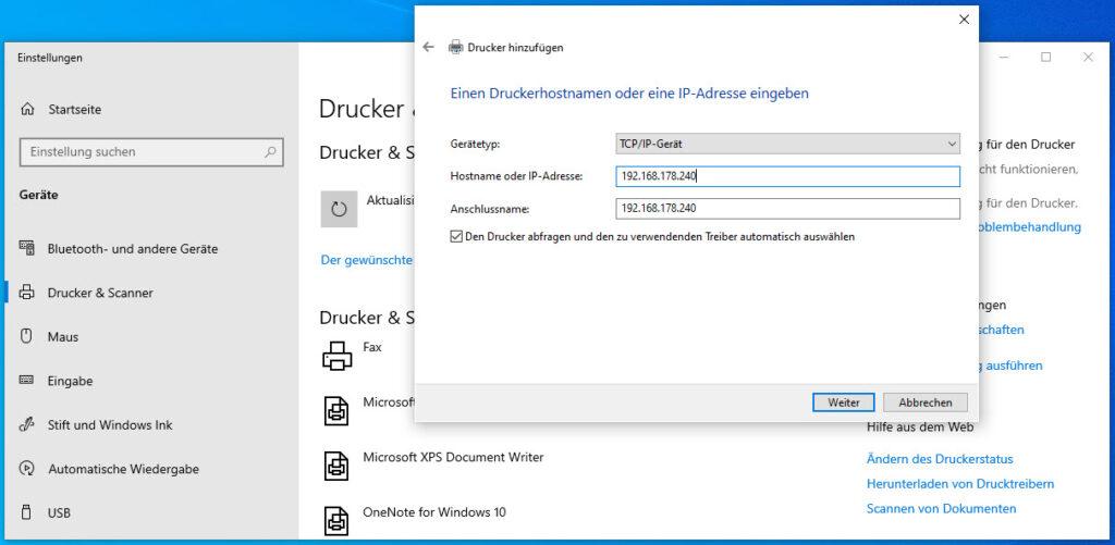 Unter Windows Einen Neuen Netzwerkdrucker Per IP Adresse Einbinden Angabe Der IP Adresse