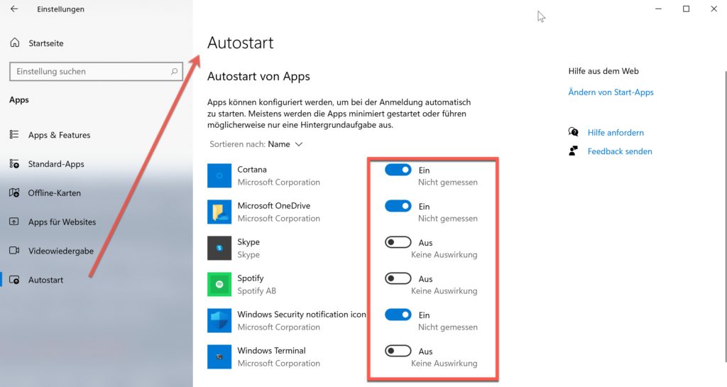 Autostartprogramm Unter Den Windows Einstellungen Deaktivieren Bzw. Aktivieren