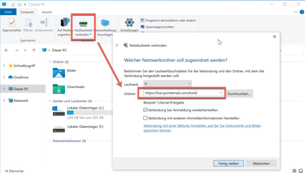 Die Sysinternal Tools Vom Microsoft Direkt Als Netzlaufwerk Einbinden