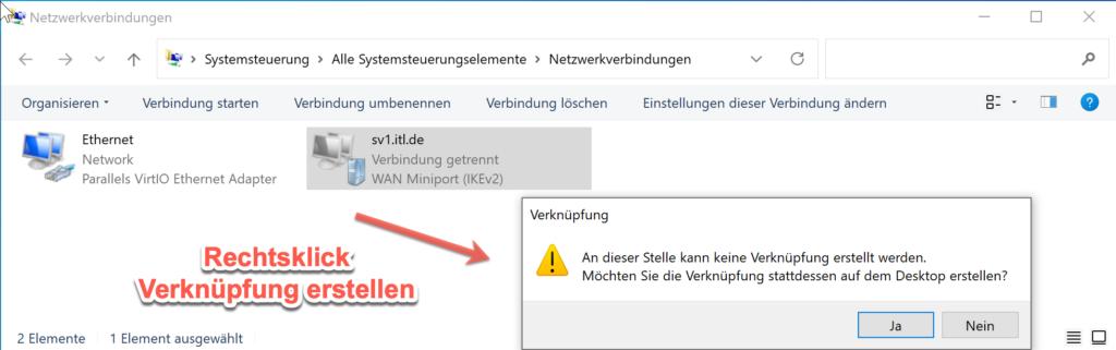 VPN Verknüpfung Shortcut Auf Dem Desktop Ablegen