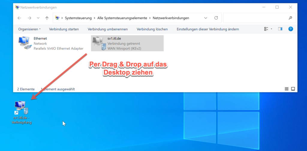 VPN Verküpfung Auf Dem Windows Desktop Ablegen