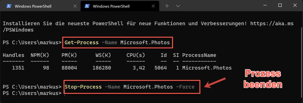 Mit Der Windows PowerShell Mehrer Prozesse Beenden