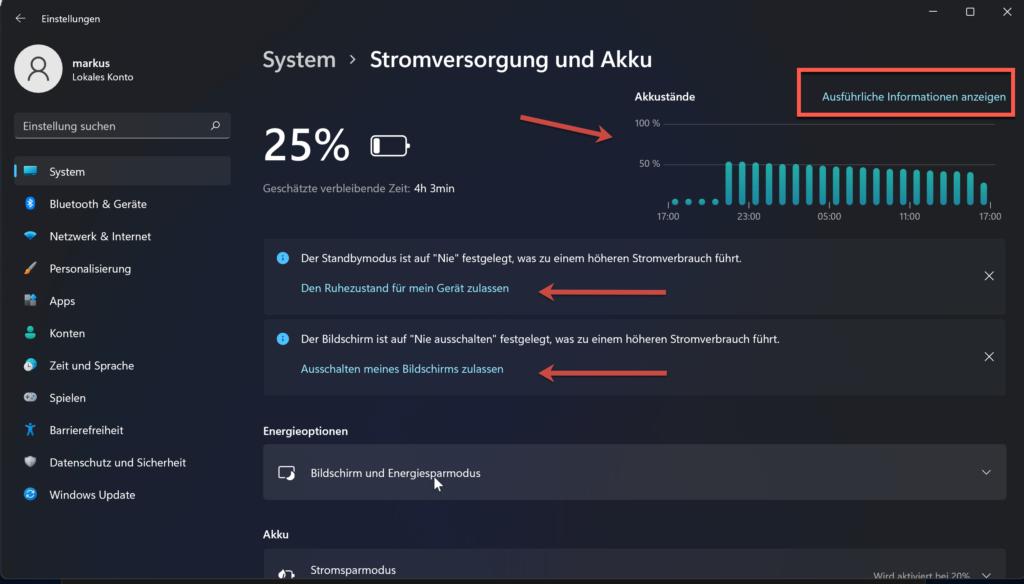 Windows 11 Akkunutzung Und Stromparen