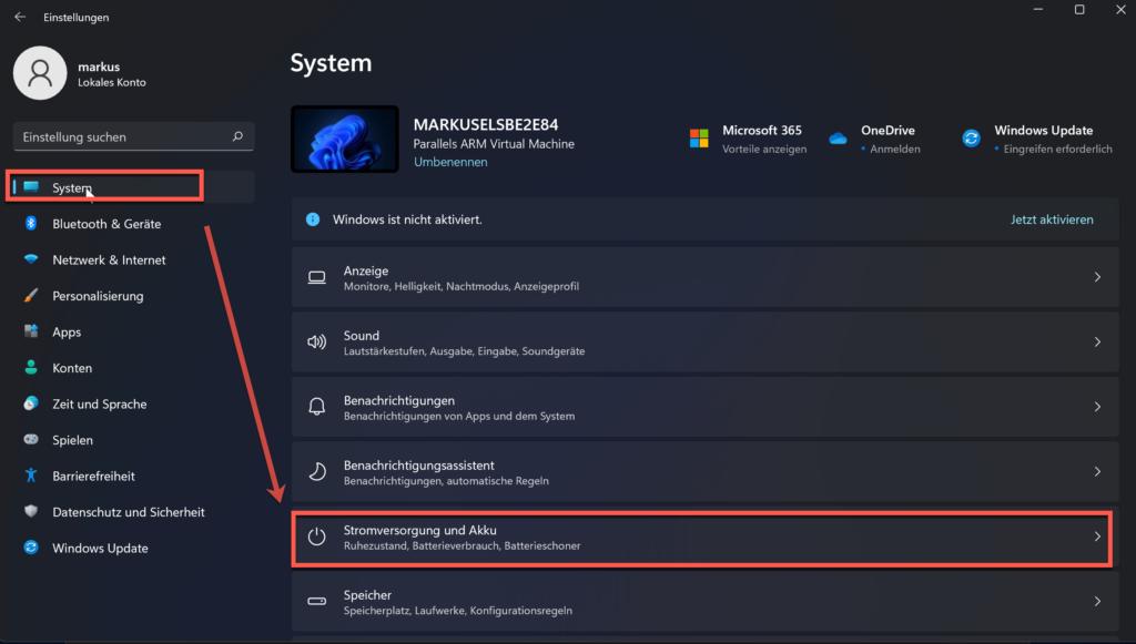 Windows 11 Einergieeinstellungen Akkunutzung