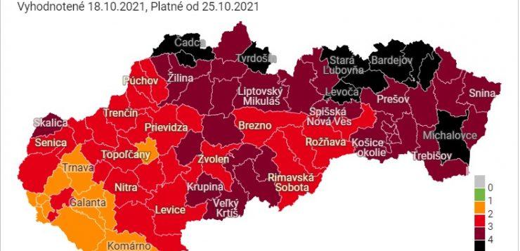 Október 25-től tíz járás fekete besorolású lesz – Kassa és környéke bordó, a Rozsnyói járás piros marad