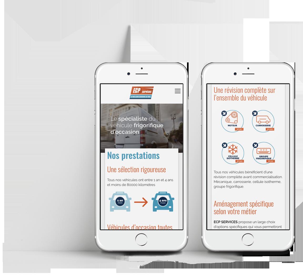 Site internet ECP Services sur smartphone