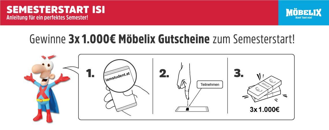 Semesterstart-Special: Gewinne 3×1000€ Möbelix-Wertgutscheine!