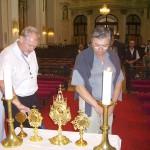 Szent László tisztelőinek találkozója – Nyitra – 2008. júl. 25. – Balról: Földessy László – Zsére, Péntek Antal – Nyitra (foto: Balkó Gábor)