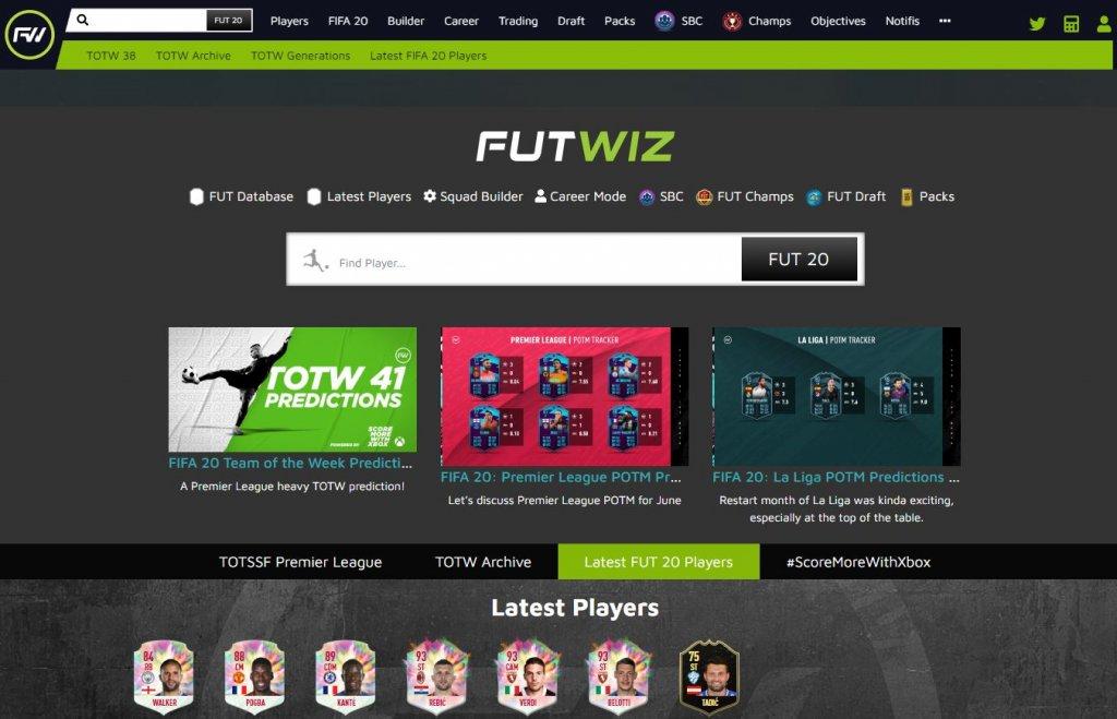 FUTWiz mit der Startseite