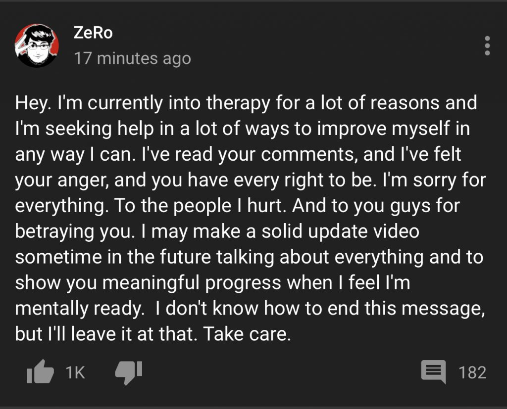 ZeRo's statement on YouTube July 8