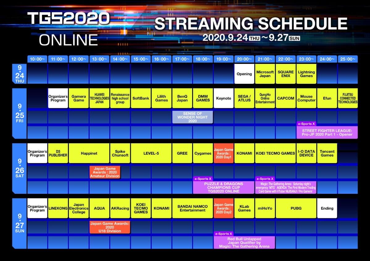 Tokyo Game Show 2020 Online Streaming Schedule