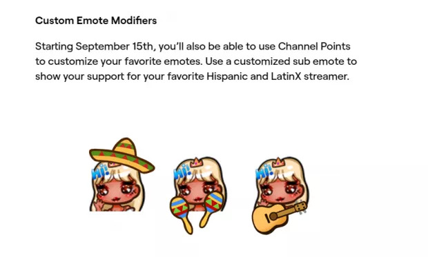 The now removed Emotes Twitch introduced for their Hispanic Heritage Month