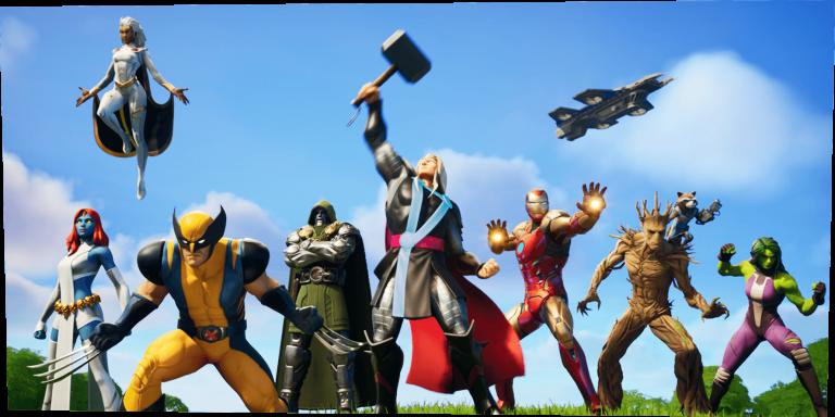 Thor, Iron Man und Groot in Fortnite Nexus War