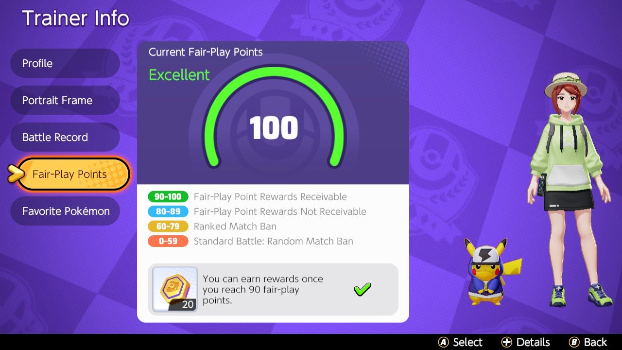 Pokémon UNITE's Fair Play Rating system