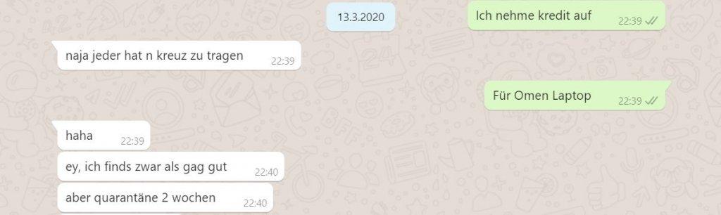 WhatsApp-Chat nach dem MacBook-Fiasko