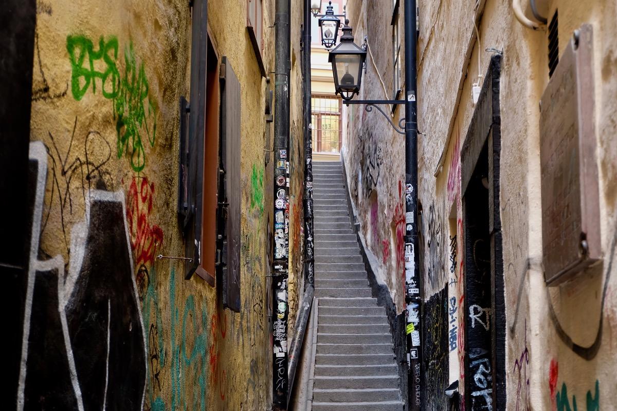 Самый узкий переулок Стокгольма
