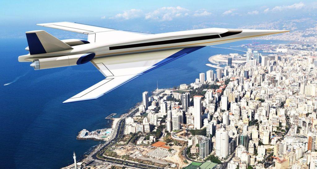 Сверхзвуковой пассажирский борт в воздухе