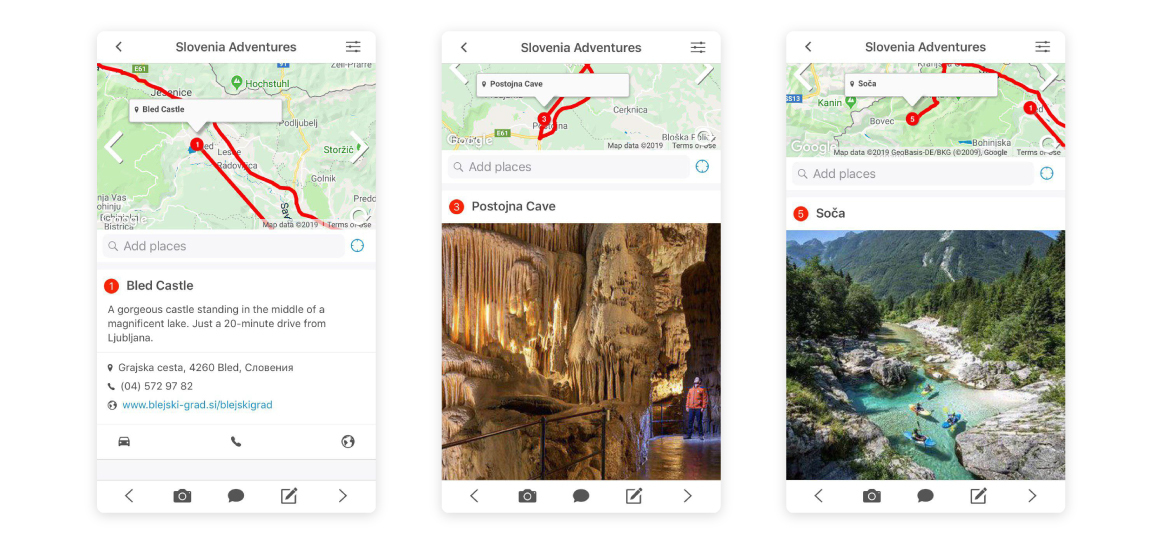 travel app itinerary