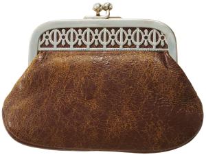 Brown antique leather purse