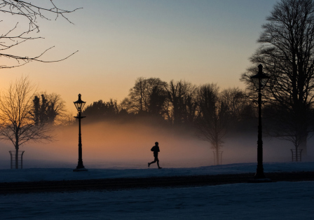 Runner in the misty Phoenix park.
