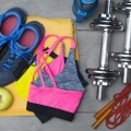 colorful fitness equipment on wooden floor