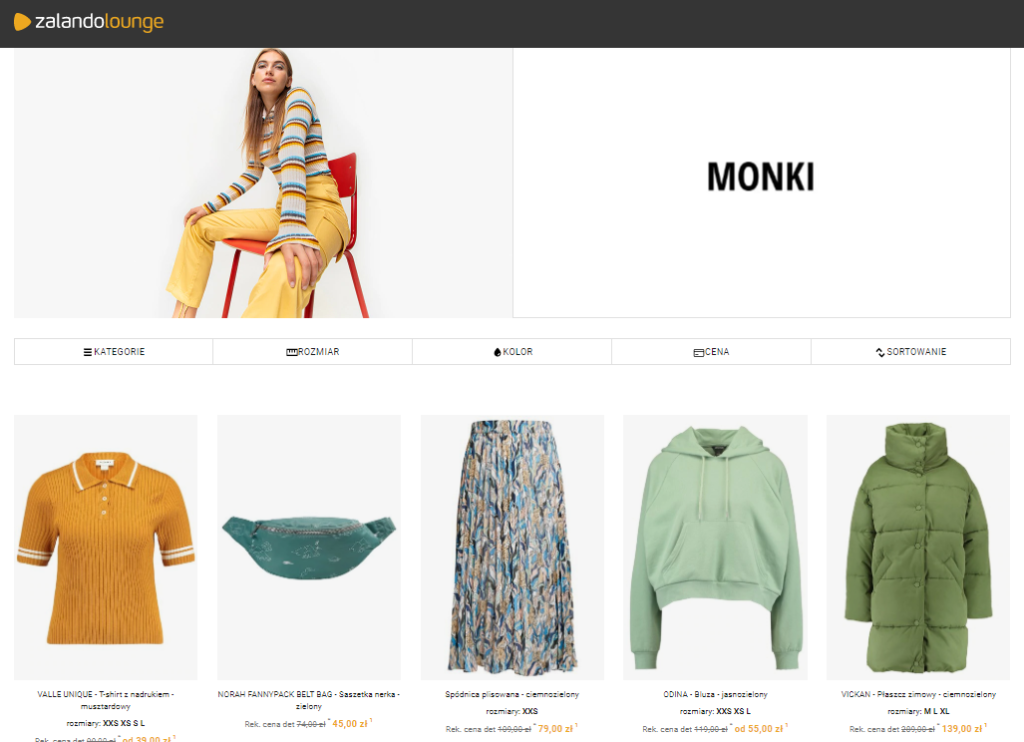Kampania Monki Outlet w Zalando Lounge