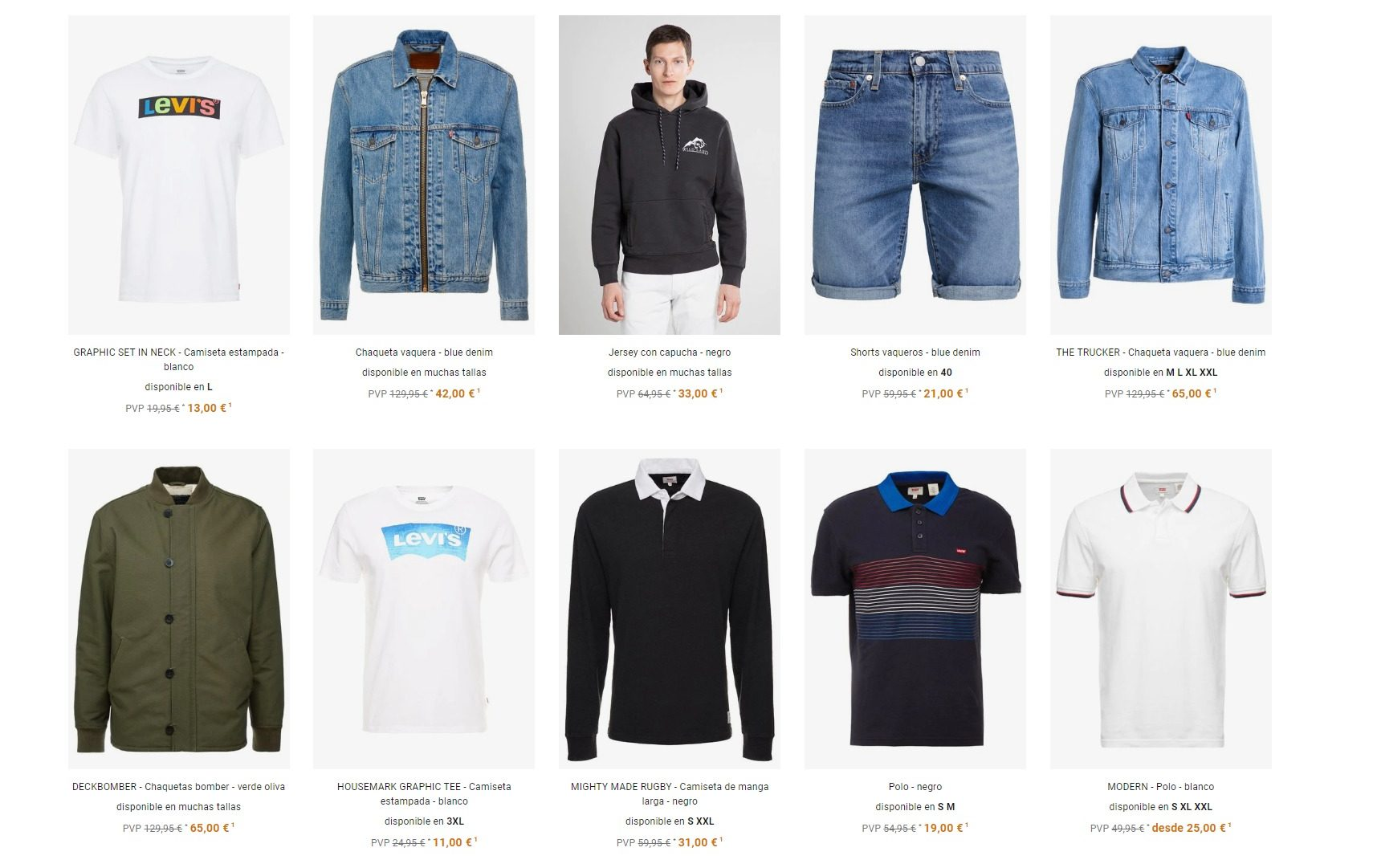 ropa hombre outlet
