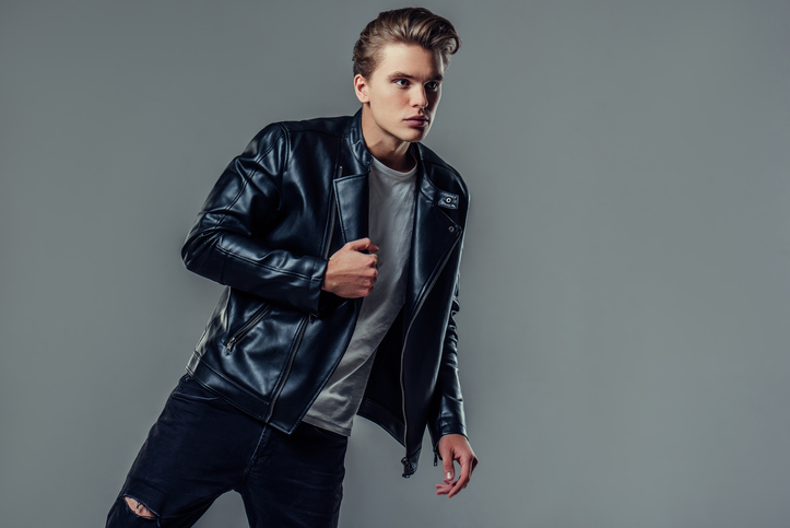 Vasyl Dolmatov young black leather jacket Philipp Plein outlet
