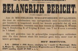 Aankondiging door de Stad Mechelen aan de Mechelse weggevoerde invaliden om zich aan te melden voor hun recht op oorlogschade