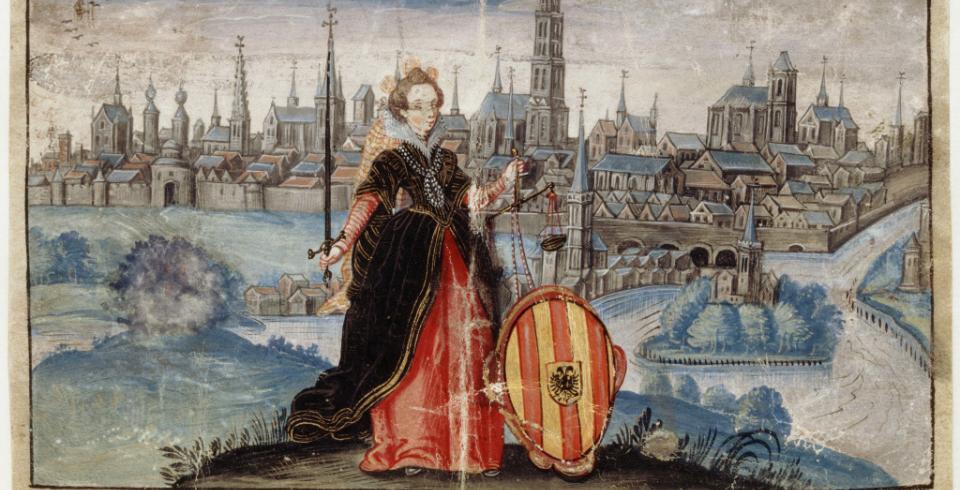 Vrouwe Justitia met zwaard en weegschaal en voor haar het stadswapen van Mechelen