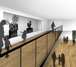 Toekomstbeeld van het architectenbureau: foyer aan de parkkant