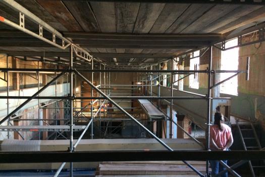 Foto vanop het balkon tijdens de werken