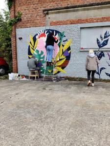 graffitikunstenaars aan het werk