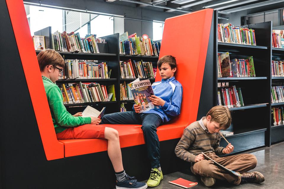 Lezende jongens in de bibliotheek