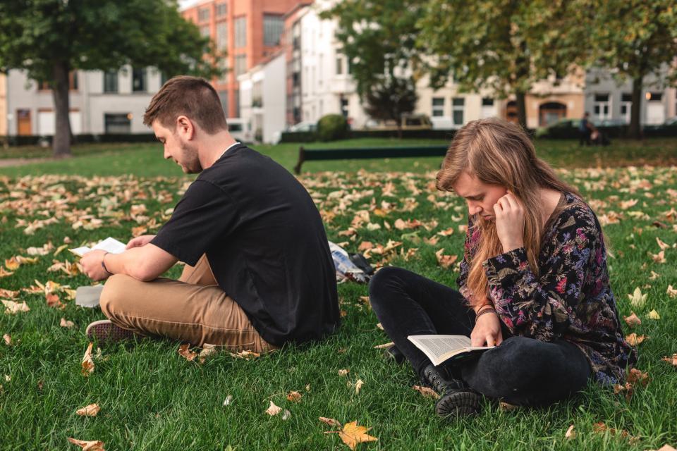 Lezende mensen op een grasplein