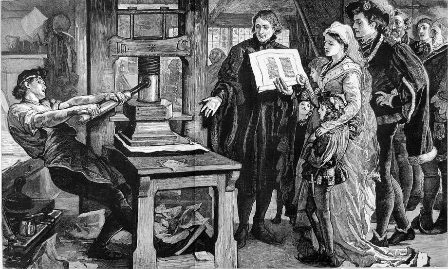 William Caxton, de eerste Engelse drukker, toont zijn drukkerij aan de Engelse koning Edward IV