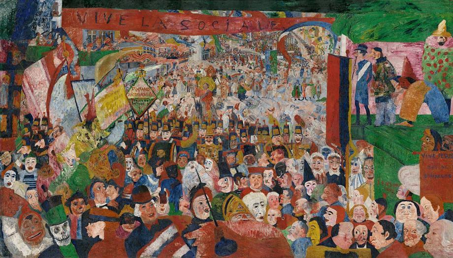 Iemand die ook dol was op marionetten en maskers was de Oostendse kunstenaar James Ensor. Hij schilderde in 1888 deze 'Intocht van Christus te Brussel'. Het doet een beetje denken aan het verhaal over de Brusselse kruisiging.