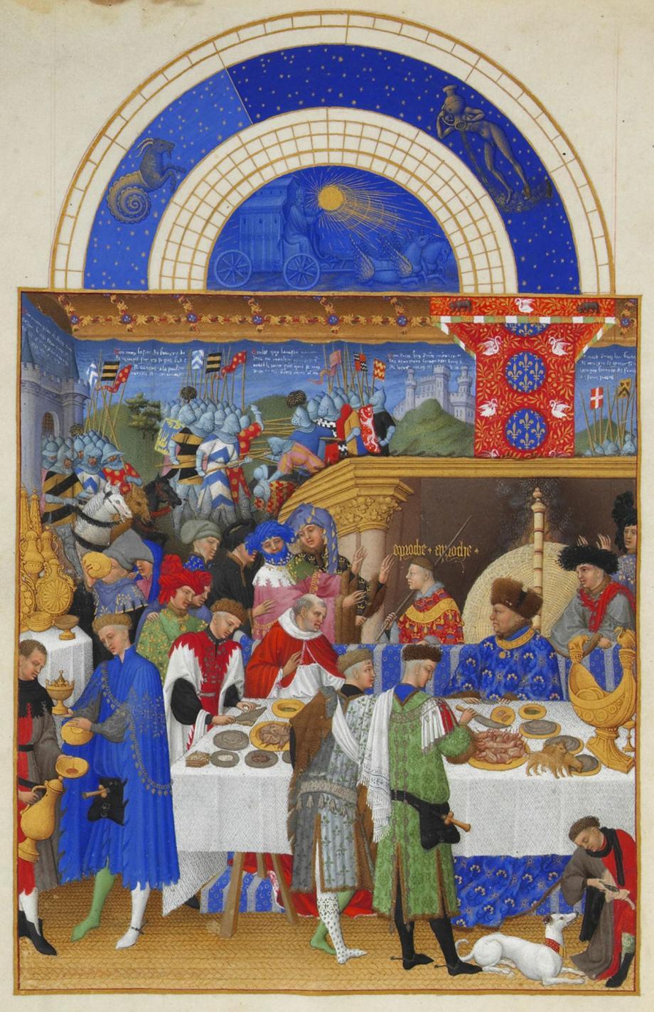 Les Très Riches Heures du duc de Berry', kalenderminiatuur, januari (musée Condé, Chantilly, Frankrijk).
