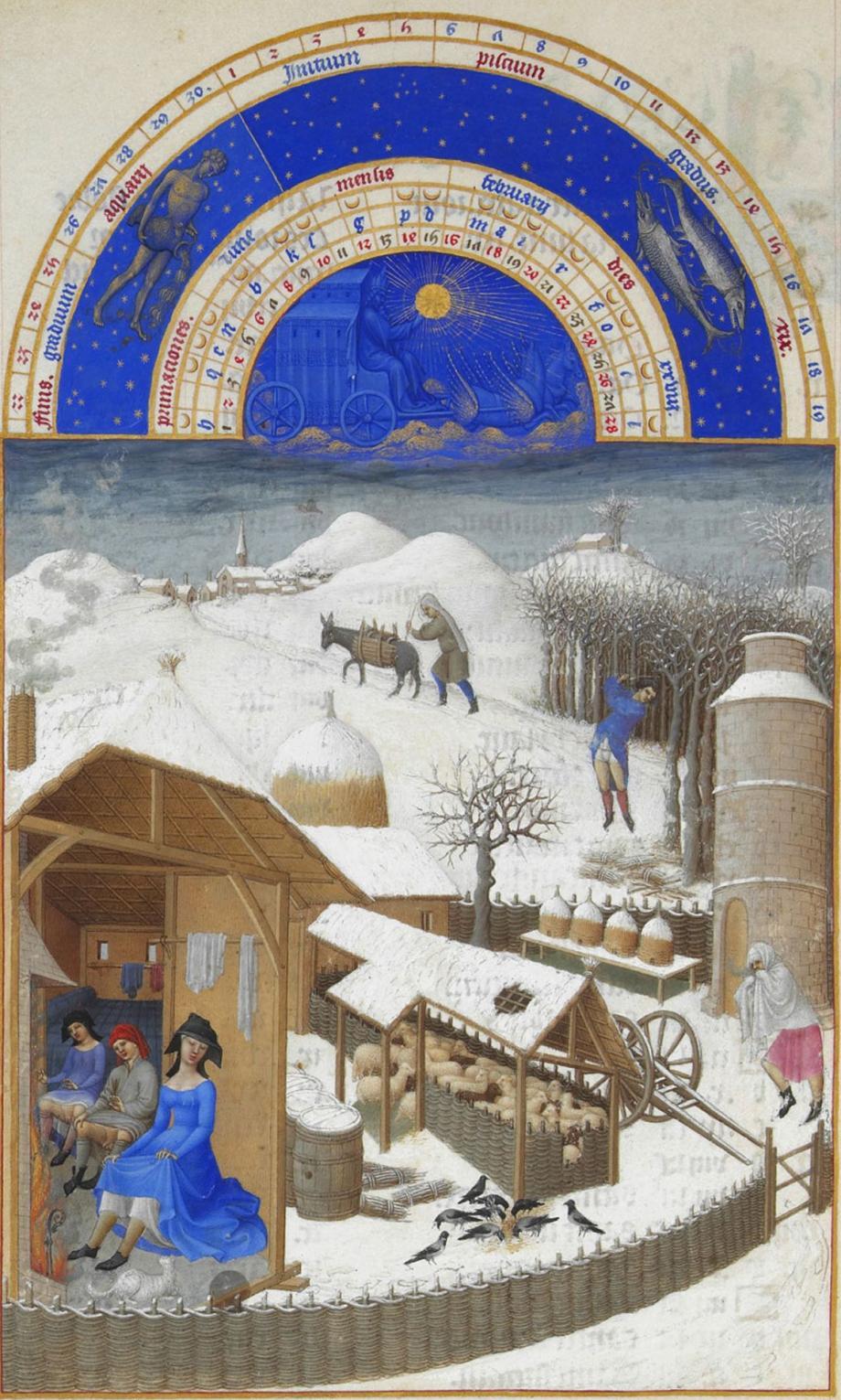 'Les Très Riches Heures du duc de Berry', kalenderminiatuur, februari (Musée Condé, Chantilly).