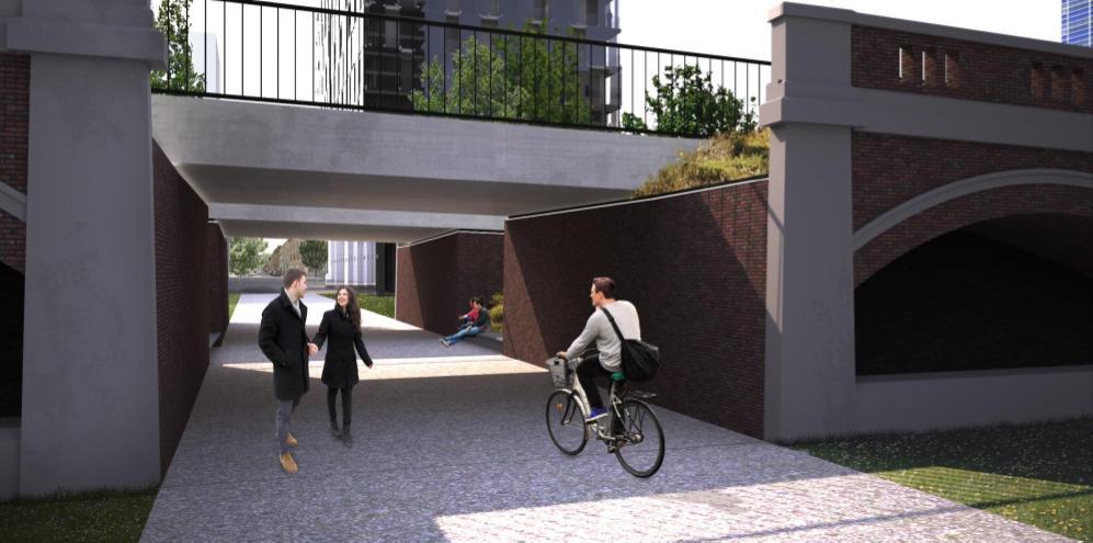 fietser fietst langs de fietspassage onder het Hardenvoortviaduct