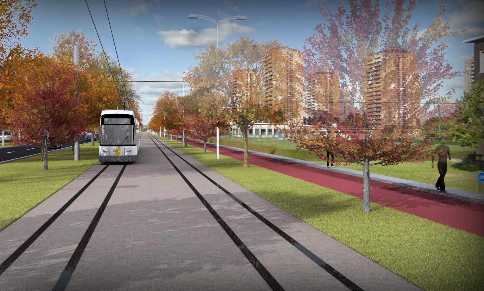 tram op trambaan op Noorderlaan